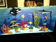 Maqueta escolar sobre el Ecosistema  Acuático. Dibujo, diagramación, idea, ilustración y hechura: Kelly Carrillo Sánchez.