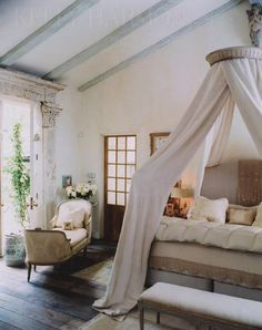 I would struggle to chose between the main bed and the daybed!  Ticking and Toile