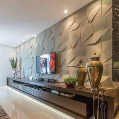 TV room with a wonderful panel, all clad in The rack with unique design … – Home Decor&Remodel Tv Wall Design, House Design, Design 3d, Living Room Theaters, Living Room Tv Unit Designs, Tv Wall Decor, Wall Art, Apartment Living, Home Interior Design