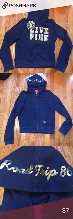 VS PINK Hoodie Navy Blue Victoria's Secret Pink Hoodie. Gold writing with sliver rhinestones. Great condition. Great quality material. PINK Victoria's Secret Tops Sweatshirts & Hoodies