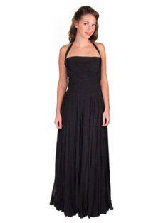 Vintage Formal Evening Gown Black Chiffon Halter 1940'S on eBay!