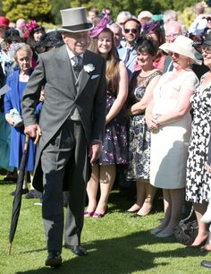 Prince Philip Duke of Edinburgh speaks to guests at the garden party News Photo 451559914
