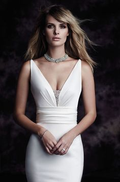 View Paloma Satin Wedding Dress - Style from Paloma Blanca. All Paloma Satin gown. Fit and flare skirt. Civil Wedding Dresses, V Neck Wedding Dress, Wedding Dress Styles, Wedding Attire, Bridal Dresses, V Neck Fit And Flare Wedding Dress, Sleek Wedding Dress, Satin Mermaid Wedding Dress, Wedding Gowns