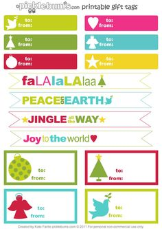The last in my Christmas printable series for 2011... printable gift tags