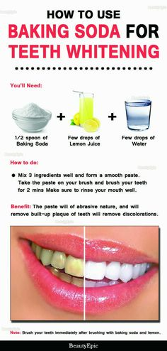 Natural Teeth Whitening Remedies How to Use Baking Soda for Teeth Whitening - Many say that baking soda is good for whitening teeth in a natural way. But How to use baking soda for teeth whitening is a big question for us. Baking Soda Teeth, Baking Soda Shampoo, Baking Soda Whitening Teeth, Homemade Teeth Whitening, Uses For Baking Soda, Baking Soda Shoe Cleaner, Brushing With Baking Soda, Baking Soda Lemon Juice, Baking Soda Benefits