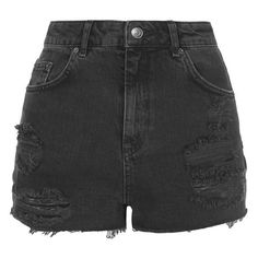 Topshop Moto Ripped Shorts ($58) ❤ liked on Polyvore featuring shorts, bottoms, short, pants, cut-off shorts, distressed shorts, cut off short shorts, cut off shorts and torn shorts