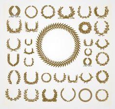 Free vector set of Olive & Laurel Wreaths