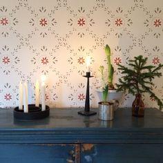 Scandinavian Interior, Scandinavian Design, House Wall Design, Swedish Wallpaper, Stenciled Floor, Kitchen Wallpaper, Scandi Style, Shabby, Stencil Painting