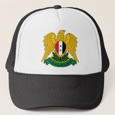 Shop syria coat of arms trucker hat created by flagart. Syria Flag, Custom Ties, Unique Image, Coat Of Arms, Baby Bibs, Flags, Kids Outfits, Reusable Tote Bags, Hat