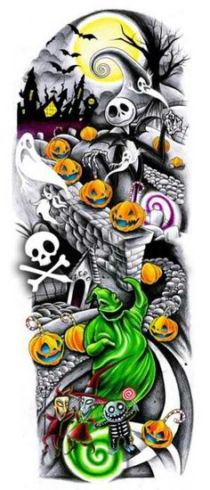 Nightmare before christmas tattoo sleeve design. I love the nightmare before Christmas Halloween Tattoo, Halloween Art, Full Sleeve Tattoos, Tattoo Sleeve Designs, Leg Sleeve Tattoo, Disney Tattoos, Jack Skellington, The Nightmare Before Christmas, Tattoo Ideas
