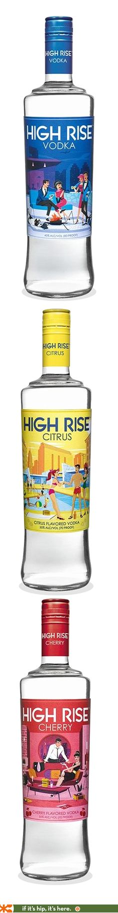 New High Rise Vodkas have fun retro illustrated labels.