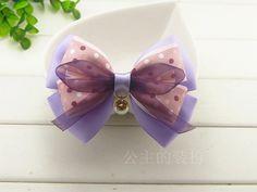 $4.08 Handmade bow hair cute little purple ribbon hairpin circle pearl card issuers top folder Korean-ZZKKO