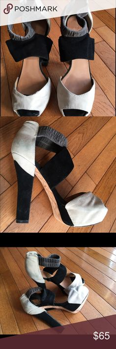 "High platform open toe shoes 5.5"" heel w/platform. Grey/cream/black LAMB shoes with stretch ankle strap. Lamb Shoes Platforms"