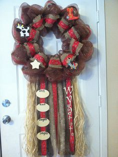 Country cowboy baby deco mesh wreath by WreathsWeeks on Etsy, $80.00.. I love this but I would like to make something similar instead of buying this one.