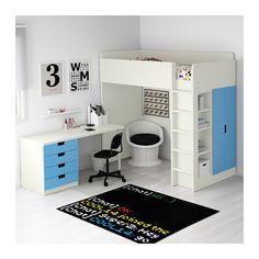 STUVA Hoogslapercombi m 4 lades/2 deuren - wit/blauw - IKEA