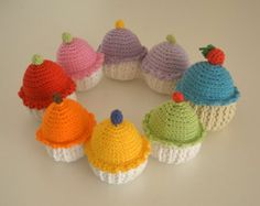 crochet cupcakes. Pretend play soft toys.