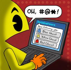 Everyone loves Pac-Man, the crazy addictive joystick arcade game by Namco that spawned a million different modern versions. Pac Man, Donkey Kong, Geeks, Humour Geek, Man Humor, Humor Humour, Funny Humor, Red Ghost, Social Media Humor