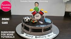 Drum birthday cake for boys design ideas decorating tutorial classes video Birthday Cakes For Men, Happy Birthday Brother Cake, Drum Birthday Cakes, Cartoon Birthday Cake, Friends Birthday Cake, Animal Birthday Cakes, Frozen Birthday Cake, Cakes For Boys, Birthday Boys