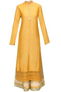 Mustard embroidered kurta set with printed scarf by Vikram Phadnis.