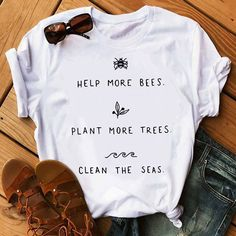 Help More Bees T-Shirt - Rad Shirt - Ideas of Rad Shirt - Show your love and support for the earth with this cute T-shirt! High-quality T-shirt available in white black & yellow! Boho fashion summer/hippie fashion/graphic tees for women/cute graphic tees/ Boho Fashion Summer, Hippie Fashion, Cute Graphic Tees, Graphic Shirts, Graphic Sweatshirt, Tee Shirt, Look Patches, Hippie Mode, Tees For Women