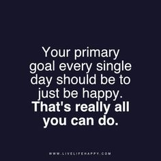 Your primary goal every single day should be to just be happy. That's really all you can do. livelifehappy.com