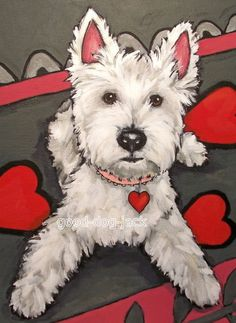 "West Highland Terrier ACEO WESTIE PRINT Painting ""BE MINE"" Dog Art RANDALL"