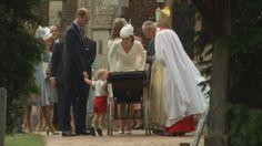 Prince George peers into baby sister's pram at her christening