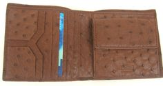 Genuine Ostrich Leather Men's Wallet with Coin Compartment from AUSLNX LLC
