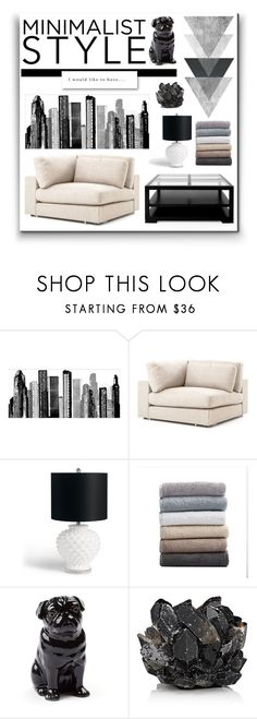 """""""Minimalist style in living room"""" by julielehenka ❤ liked on Polyvore featuring interior, interiors, interior design, home, home decor, interior decorating, RoomMates Decor, Grandin Road, Coyuchi and Quail"""