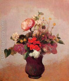 Odilon Redon:Flowers In Aa Brown Vase