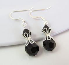 Black Earrings Black Drop Earrings Black Jewelry by BeadBrilliant, $16.00