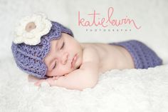Newborn girl hat crochet purple beanie cloche hat with cream flower and diaper cover set photography photo prop. $40.00, via Etsy.