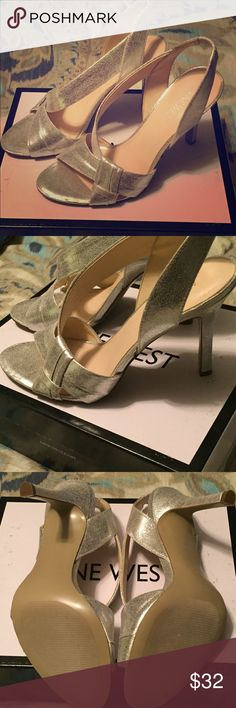 Silver Nine West Heels Silver Nine West Heels-New never worn with box Size 7.5 Nine West Shoes Heels