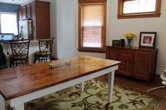 """James James: Farmhouse Table 8' x 37"""" x 30"""" with tapered legs. Early American stained top, Ivory painted base."""