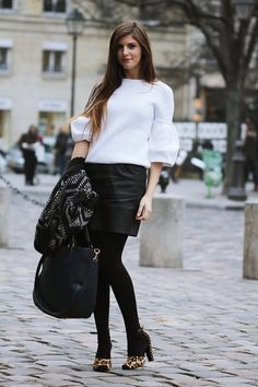 simple et chic: Outfit Paris Fashionweek: Monochrome and Leo Print