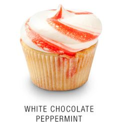 White Callebaut chocolate peppermint-infused cupcake topped with a candy-cane striped white chocolate buttercream frosting Baking Cupcakes, Yummy Cupcakes, Mocha Cupcakes, Gourmet Cupcakes, Strawberry Cupcakes, Velvet Cupcakes, Easter Cupcakes, Flower Cupcakes, Christmas Cupcakes