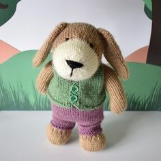 """PUPPY+TOY+KNITTING+PATTERNS    Puppy+is+looking+very+smart+in+his+trousers+and+little+waistcoat.++The+outfits+can+be+removed+so+you+can+play+""""dress+up""""+with+the+puppy.    TECHNIQUES:++All+pieces+are+knitted+flat+on+a+pair+of+straight+knitting+needles.++You+will+need+to+cast+on+and+off,+knit,+purl,+work+increases+and+decreases,+knit+stripes+(change+colour+at+the+end+of+a+row)+and+sew+seams.++The+puppy+uses+short+row+shaping,+and+step+by+step+instructions+are+included…"""
