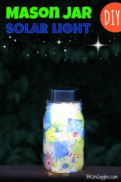 This would be so neat to do around the top of one of our forts!  Mason Jar Solar Light - Bitz  Giggles
