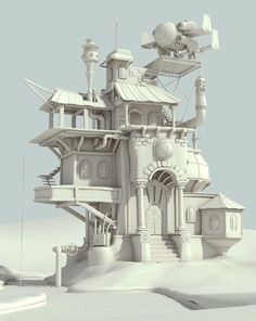 The mad scientist home - WIP., Raphael Baldini on ArtStation 3d Fantasy, Fantasy House, Environment Concept Art, Environment Design, Game Environment, Building Concept, Building Design, 3d Building, 3d Modellierung