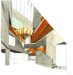 An Gaelaras - O'Donnell & Tuomey Architects. Drawing by Sheila O'Donnell.