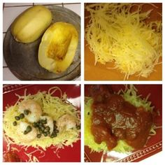 """Ever have spaghetti squash? It is a low carb healthy alternative to pasta....Here I made 2 different recipes....1 I made with lemon sauce w/ shrimp and capers...the other I made with italian sausage and spaghetti sauce. Just bake spaghetti sqaush for approx 35 min cut in half face down....when done scrape with a fork to get the """"noodles"""" out. and prepare as you would any pasta dish!"""