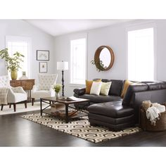 Delightful Abbyson Devonshire Leather Tufted Sectional (Brown)