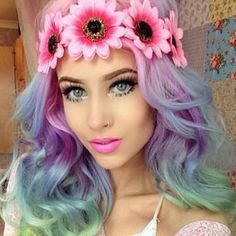 shoulder-length wavy hair in pink, purple, blue and green colors More at…