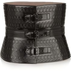 Alaïa Laser-cut glossed-leather waist belt ($2,870) ❤ liked on Polyvore featuring accessories, belts, black, leather belt, alaia belt, black leather belt, adjustable belt and adjustable leather belt