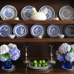 Shelves styled with blue & white transferware plates & hydrangea - Jenny Rose-Innes