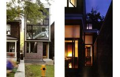 Skinny antidote to urban sprawl -   4m wide (ours is 2.8m) Left: Galley House, Toronto. 12 feet wide. Designer: Donald Chung Studio. Right: Laneway House Toronto Designer: Shim-Sutcliffe Architects  Photos from the book Narrow Houses, New Directions in Efficient Design, by Avi Friedman.