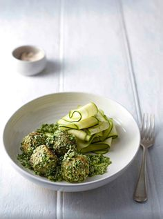 Quinoa, Almond Ricotta 'Meatballs' with Zucchini Pasta by The Whole Pantry Healthy Vegetarian Food : Raw Food Recipes, Vegetarian Recipes, Cooking Recipes, Healthy Recipes, Snacks, Ricotta Meatballs, Food For Thought, Food Inspiration, Zucchini Pasta