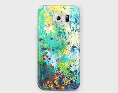 Teal, green, red, and yellow Samsung phone case