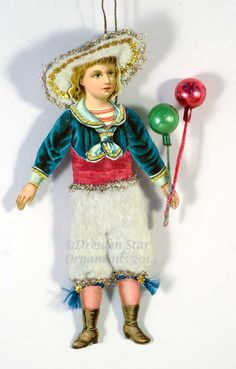 Victorian Sailor Boy Paper-Doll with Cotton Batting Knickers and Balloons Retro Christmas Decorations, Retro Christmas Tree, Victorian Christmas Ornaments, Antique Christmas, Christmas Paper, Xmas, German Christmas, Christmas Trees, Paper Ornaments
