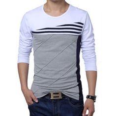 Estilo casual de cuello redondo de color Empalme adelgazan Stripes Print algodón manga larga de los hombres Blend Plus Size T-Shirt para Vender - La Tienda En Online IGOGO.ES